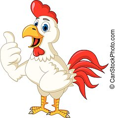 Happy cartoon chicken thumb up - vector illustration of...