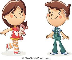 Happy cartoon children. Boy and girl.