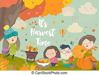 Happy cartoon children harvesting in autumn garden