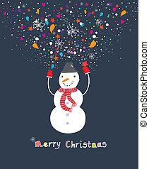 Happy cartoon christmas snowman