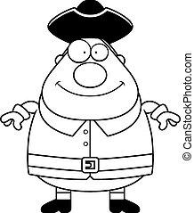 Happy Cartoon Colonial Man