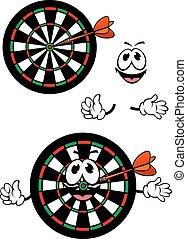 Happy cartoon colorful darts target character