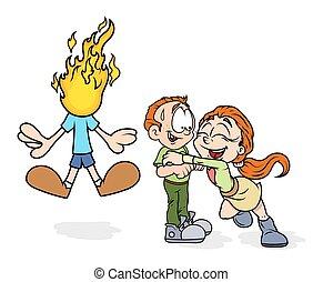 Happy Cartoon Couple and Jealous Boy Vector Illustration