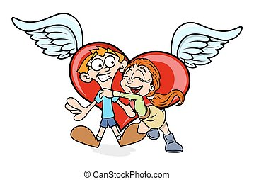 Happy Cartoon Couple with Heart