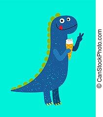 Happy cartoon dino with ice-cream