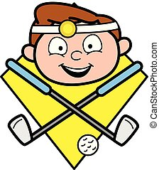 Happy Cartoon Doctor Face with Golf Stick and Ball Vector