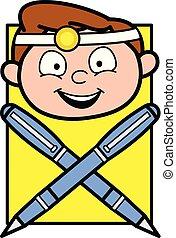 Happy Cartoon Doctor Face with Pens Vector