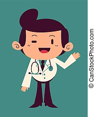 Happy Cartoon Doctor Waving
