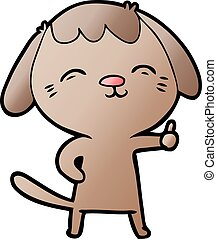 happy cartoon dog giving thumbs up sign