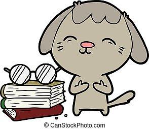 happy cartoon dog scholar