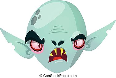Happy cartoon dracula head . Halloween vector illustration of vampire