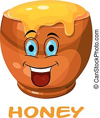 Happy Cartoon drawing of a clay pot with honey. Vector illustration