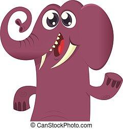 Happy cartoon elephant vector illustration