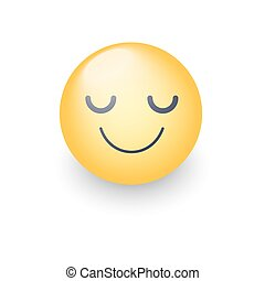Happy cartoon emoji face with closed eyes. Smiling yellow cute emoticon. Fun smiley for application and chat
