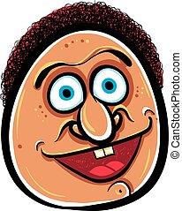 Happy cartoon face, vector illustration.