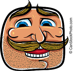 Happy cartoon face with mustaches, vector illustration.