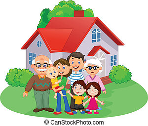 Happy cartoon family - vector illustration of Happy cartoon...