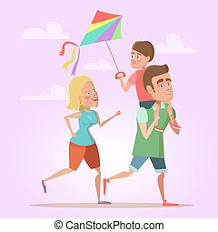 Happy Cartoon Family Father, Mom and Son Flying a Kite. Summer Fun. Vector illustration