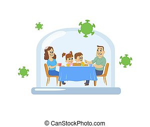 Happy cartoon family under a glass dome with viruses flying around. Covid-19 pandemic, social distancing, stay home. Coronavirus self-isolation concept. Flat vector illustration, isolated.