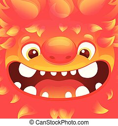 Happy cartoon fire monster - square avatar with funny alien character with flame skin
