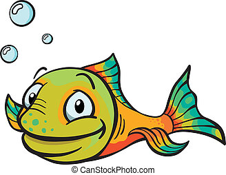Happy multi-colored cartoon fish with air bubbles.
