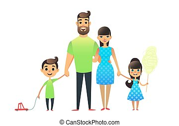 Happy cartoon flat family portrait. Mother, father, son, daughter together. Mom and dad embrace, the brother is carrying a toy car on a string, the sicter is holding cotton candy