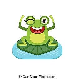 Happy Cartoon Frog Character