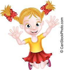 Happy Cartoon Girl Jumping