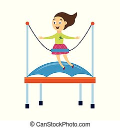 Happy cartoon girl jumping on bungee trampoline with safety harness