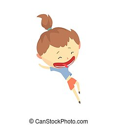 Happy cartoon girl running, kids outdoor activity vector Illustration
