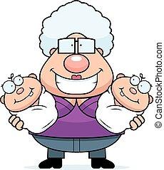 Happy Cartoon Grandma with Twins - A cartoon illustration of...