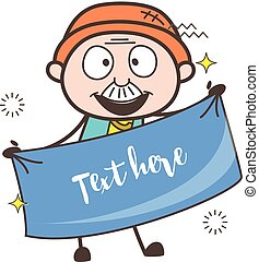 Happy Cartoon Grandpa Holding a Banner for Message Vector Illustration