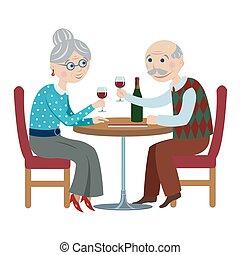 happy cartoon grandparents - elderly couple drinking red...