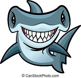Happy cartoon hammerhead shark character - Happy voracious...