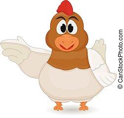 happy cartoon hen vector illustration