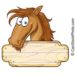 Happy Cartoon Horse mascot  With A Blank Sign