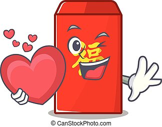 happy cartoon in the red envelope holding heart