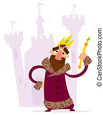 A cartoon smiling king with crown and mace standing standing in front of his castle