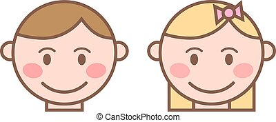 Happy cartoon laughing boy and girl character. Happy boy and girl face emotion