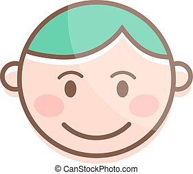 Happy cartoon laughing boy and laughing boy character. Happy boy face emotion