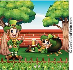 Happy cartoon leprechauns with pot of gold coins