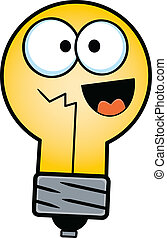 Happy Cartoon Light Bulb