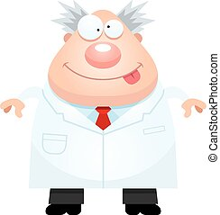 Happy Cartoon Mad Scientist