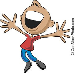 Happy cartoon character jumping up for joy, arms spread wide, and a big smile.