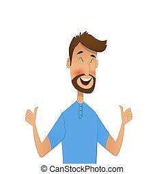 Happy cartoon man shows gesture cool