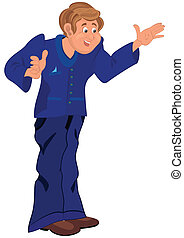 Happy cartoon man standing in blue uniform