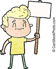 happy cartoon man with sign