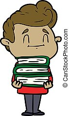happy cartoon man with stack of new books