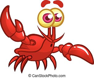 Happy cartoon marine crab with big claws and a smiling face. Vector illustration