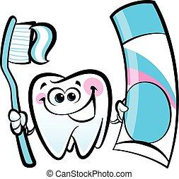 Happy cartoon molar tooth character holding dental...